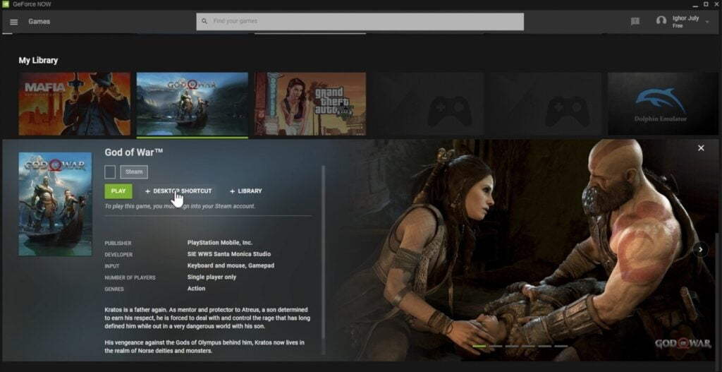 God of War' will arrive on PC this is indicated by the leak in the NVIDIA GeForce NOW service