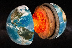 Structure of planet Earth in space, 3D rendering