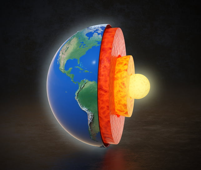 Earth core structure with geological layers